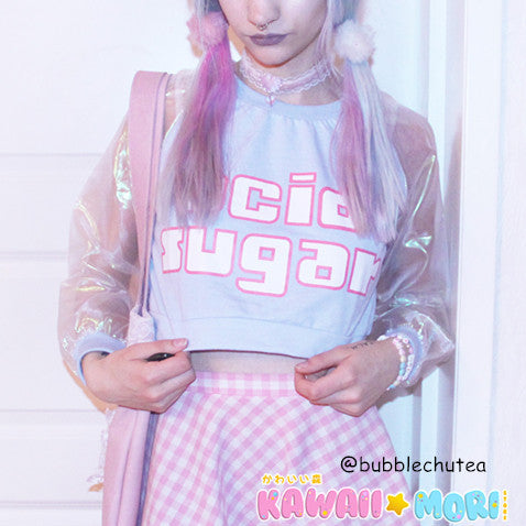 Acid Sugar hologram Sleeve Top KW178913