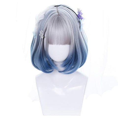Angel Blue Silver Short Wig K14942
