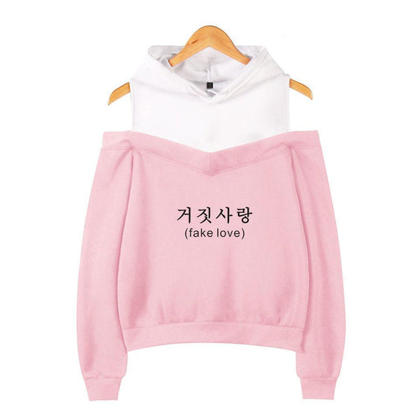 Black/Grey/Pink BTS Fake Love Off-Shoulder Hoodie Jumper