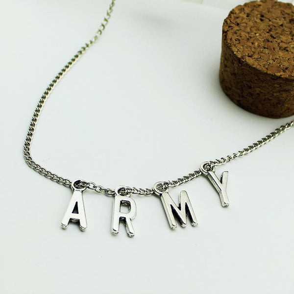 BTS Army Silver Necklace K12748