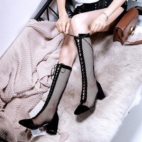 Black/Beige/Silver Laced Net High Boots K14226