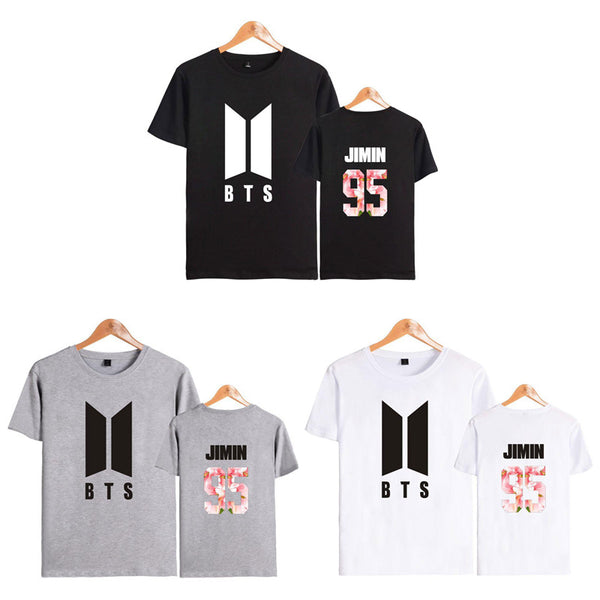 Black/Gray/White BTS Floral Tee Shirt K12751