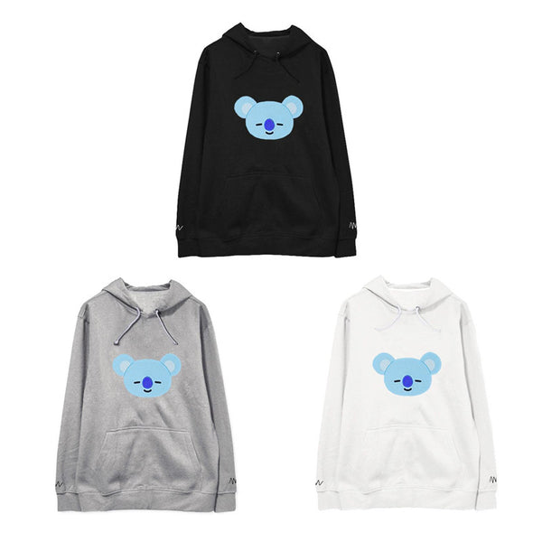Black/Gray/White Kawaii BTS X BT21 Hoodie Jumper K12922