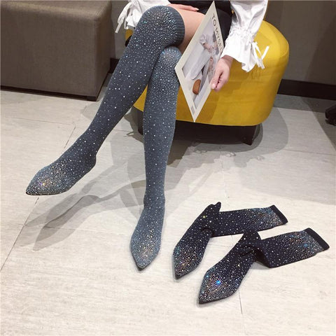 Black/Grey Bling Rhinestone Long Socks Boots K14329