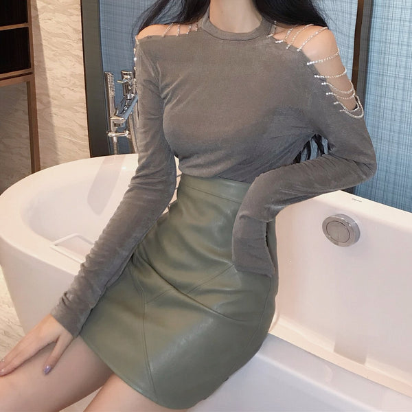 Black/Grey Off-Shoulder Long Sleeves T-Shirt K13343
