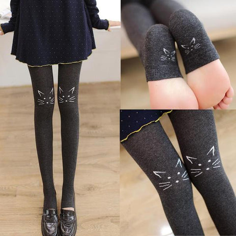 Black/Navy/Deep Grey/White Kawaii Neko Tights KW1711436