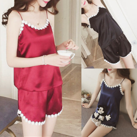 Black/Navy/Red Sweet Flower Homewear Set KW1812444
