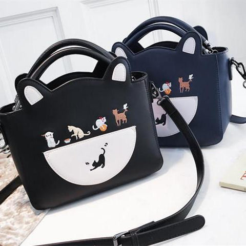 Black/Navy Kawaii Cat Two-Way Bag K13613