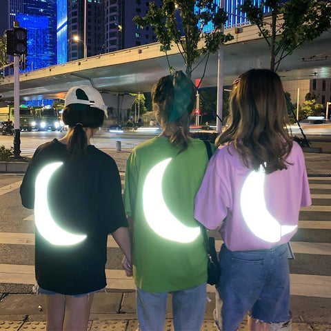Black/Pink/Green Reflective Moon Tee Shirt K13964