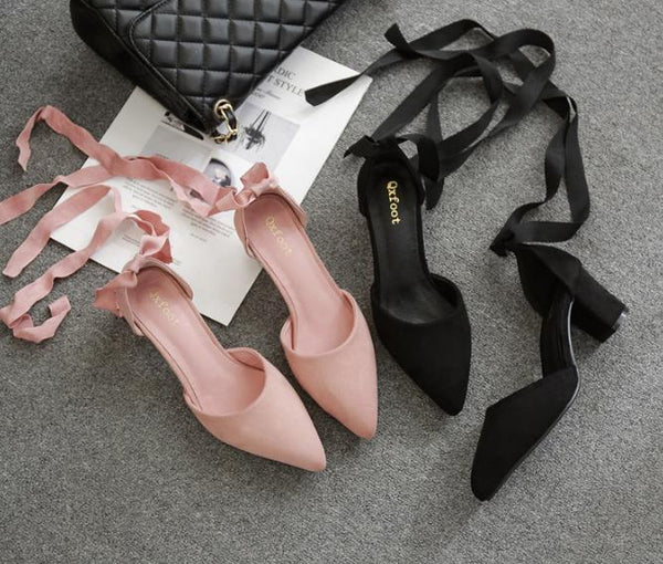 Black/Pink Elegant Ribbon Bow Heel Shoes K13597