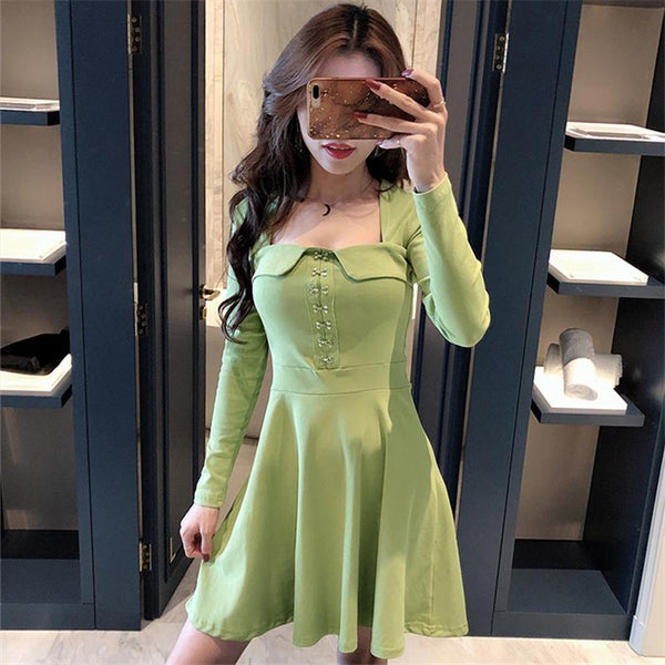 Black/Red/Green Sweet Buttons Long Sleeve Dress K14365