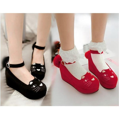 Black/Red/Leopard Print Lolita Kitty Shoes KW164824