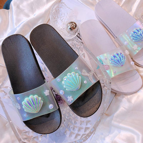 Black/Silver Hologram Mermaid Scallop Slippers K14068