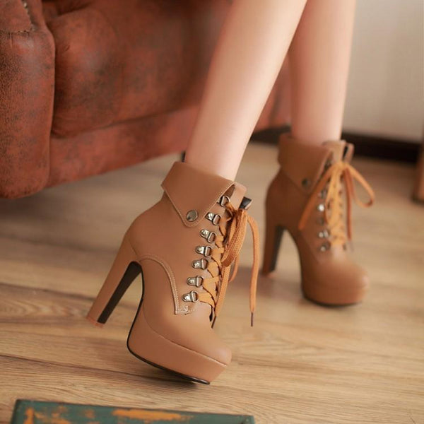Black/White/Brown Elegant Laced High Heel Boots K12831