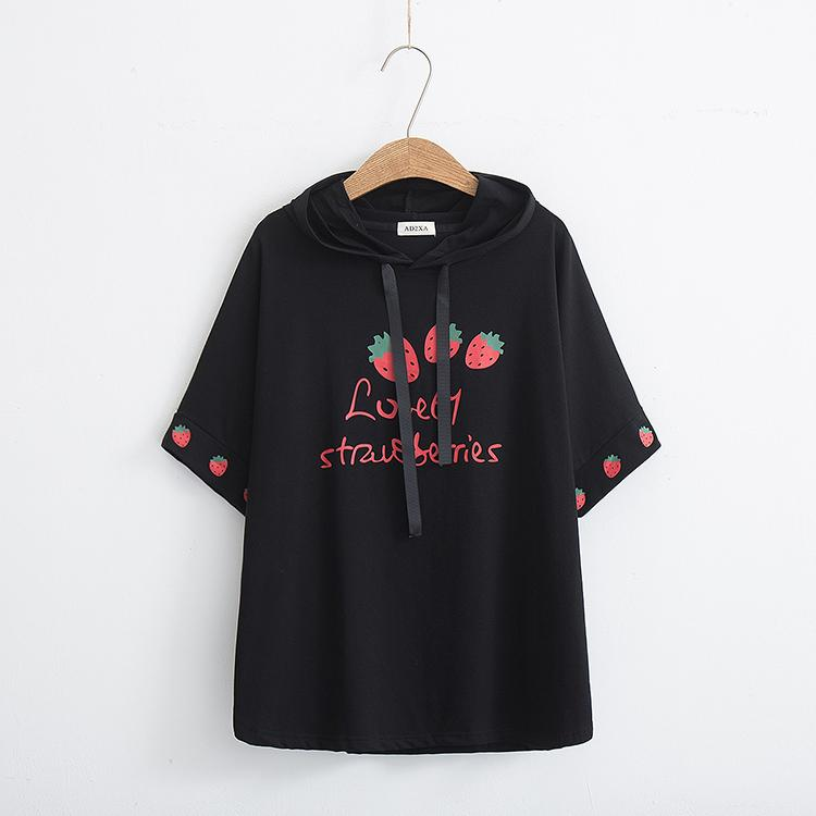 Black/White/Pink Lovely Strawberries Hoodie Shirt K13790
