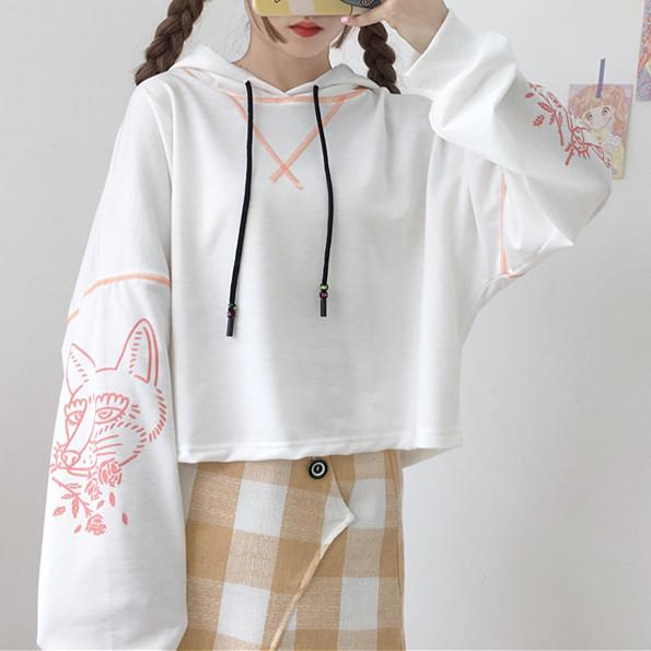 Black/White Kawaii Printing Short Hoodie Jumper K12864