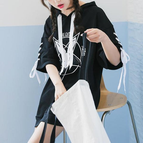 Black/White Pastel Demon Bunny Hoodie Jumper KW1811643