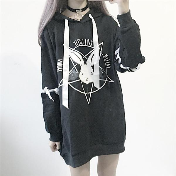 Black/White Pastel Demon Bunny Long Hoodie Jumper KW1710642