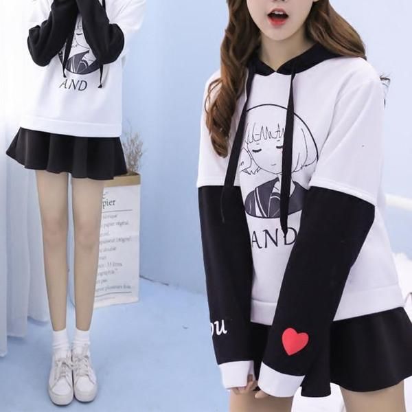 Black/White You And Me Girl Hoodie Jumper KW1711262