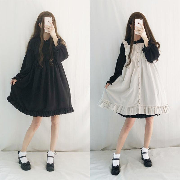 Black/Wine/Pink Sweet Lantern Sleeve Lolita Dress K12886