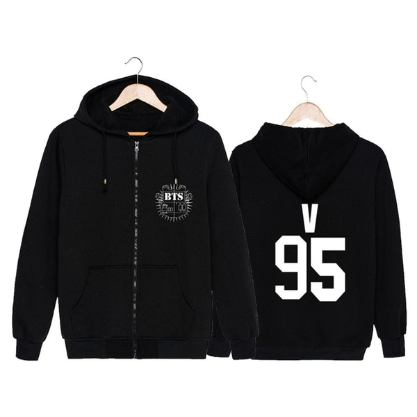 Black BTS Members Hoodie Coat K12746