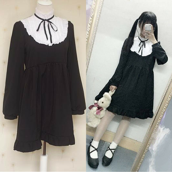 Black Cutie Lolita Falbala Dress KW154238