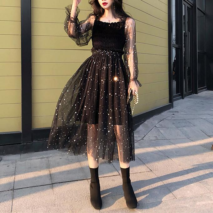 Black Fairy Star Paillette Long Dress K13538