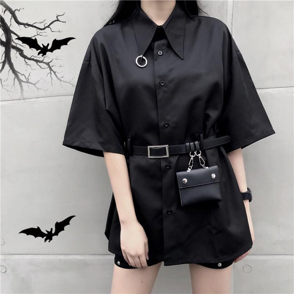 Black Gothic Harajuku Belt Blouse K13849