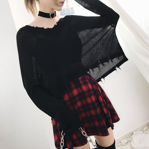 Black Gothic Thin Kintting Sweater K13443