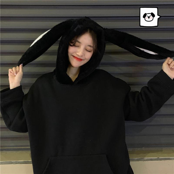 Black Kawaii Bunny Ears Hoodie Jumper K13422