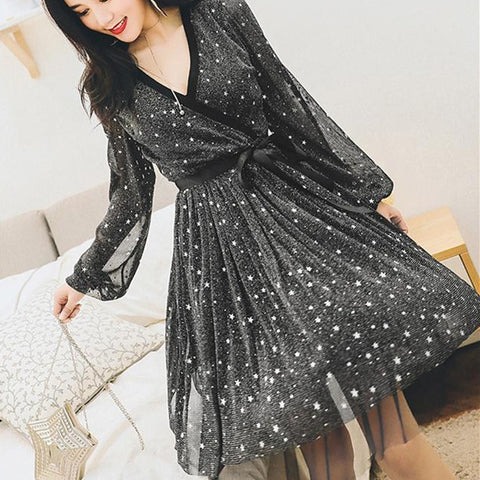 Black Stars Mesh Lantern Sleeve Dress