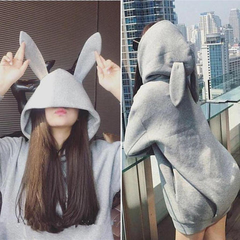 Black/Grey Bunny Ear Hoodie Coat KW1710680
