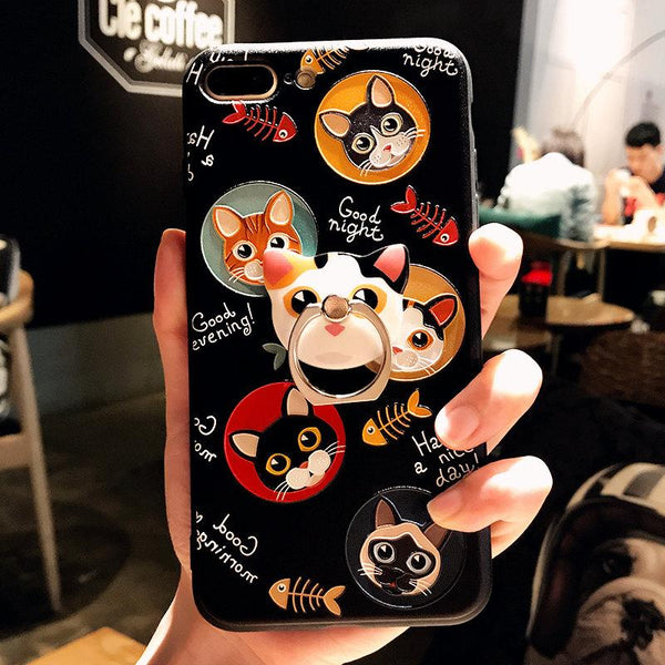 Blackwhite Cartoon Cat Printing Iphone Case