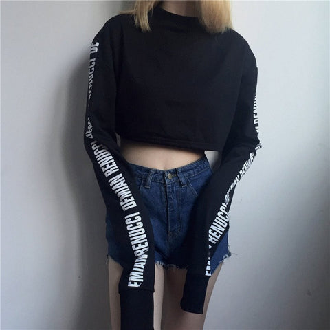 Black/White Harajuku Fleece Sweatshirt