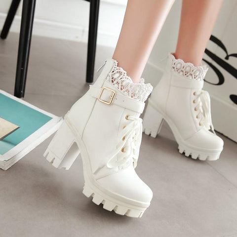 a5aa6916c21 Black White Lace Pu Heels Boots KW1710666