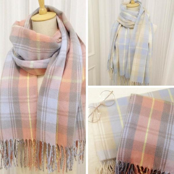 Blue/Pink/Purple Grid Warming Scarf KW168260 - kawaiimoristore