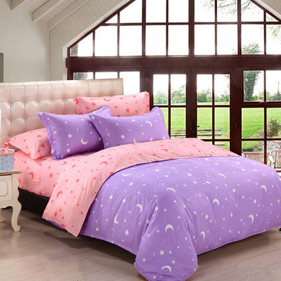 Blue/White/Purple Kawaii Stary Night Bedding Sheet KW1710389