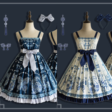 Blue/White Falbala Porcelain Bow Lolita JSK Dress
