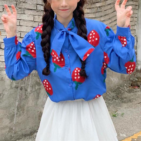 Blue/White Kawaii Strawberry Bow Blouse K13602