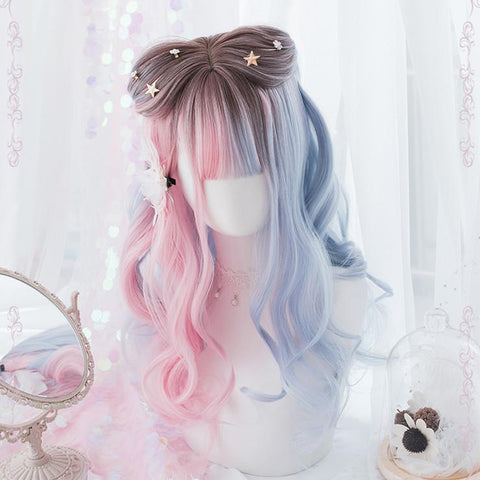 Blue Pink Mixed Lolita Long Curl Wig K12800