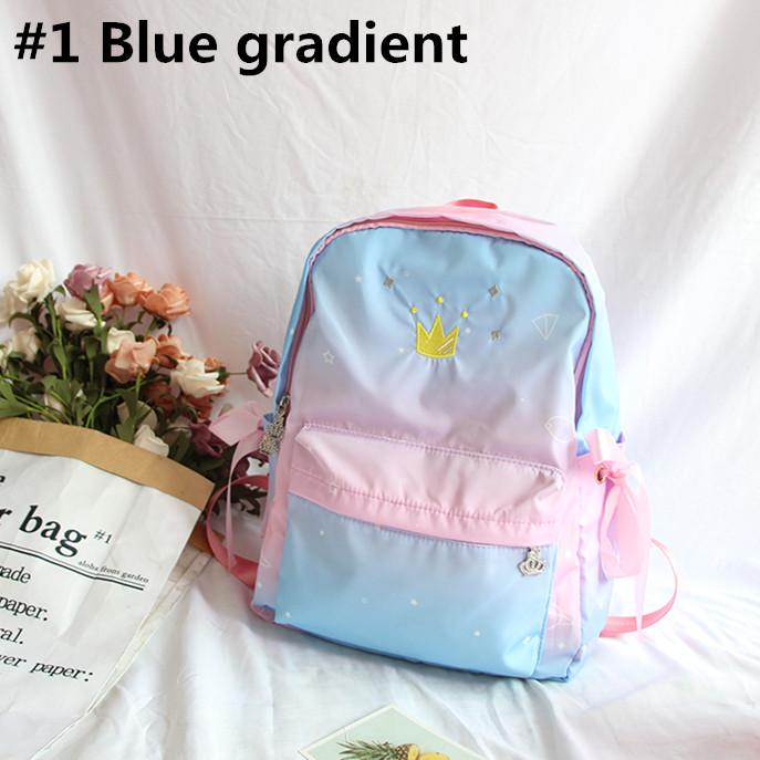 Blue Pink Pastel Crown Backpack K12732