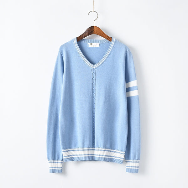 Blue Preppy Style Strip Sweater K13868