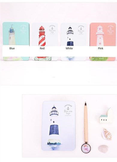 Blue Sea Lighthouse Special Design Dairy Notebook - kawaiimoristore