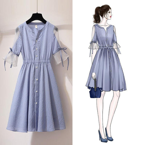 Blue Stripe Falbala Tulle Sleeve Dress K14076