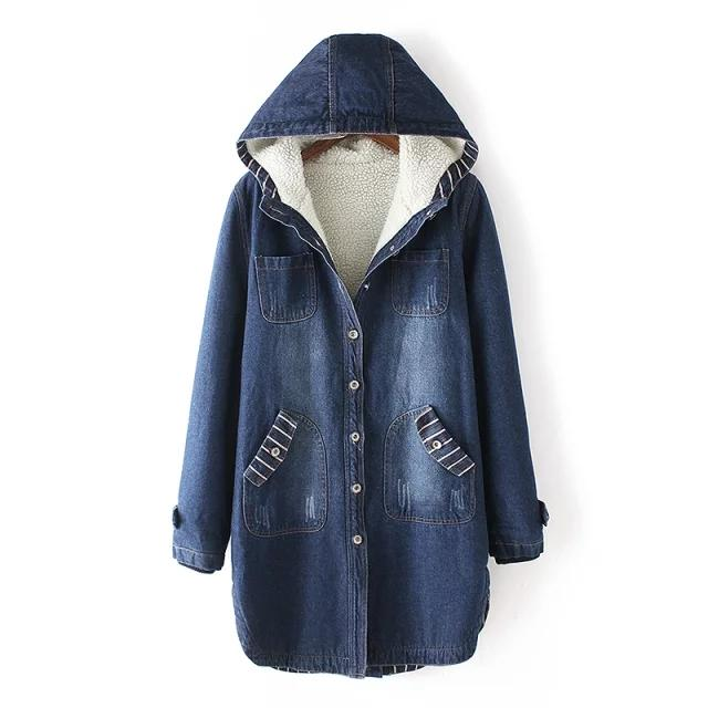 Blue Winter Fleece Midi Denim Hoodie Coat KW1710939