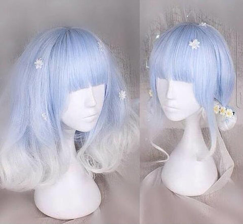 Blue White Lolita Cosplay Wigs