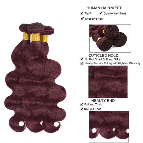 99j Color 3/4 Bundles With Closure Burgundy Body Wave Hair Brazilian Virgin Hair