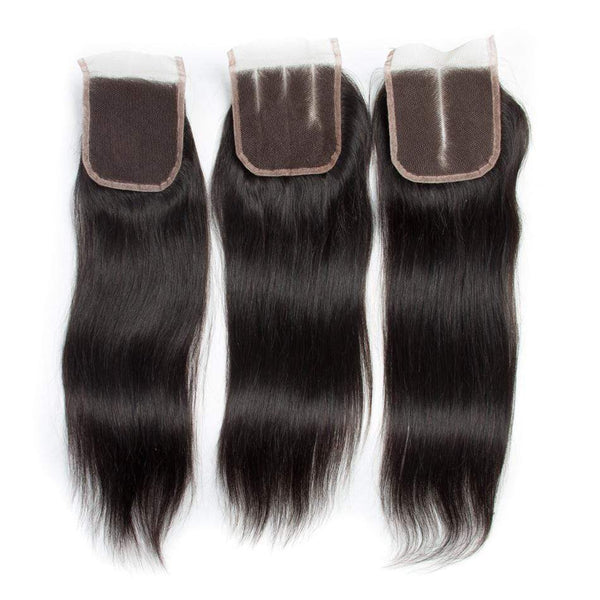 Straight Malaysian Human Hair Bundles With 4×4 Lace Closure 3/4 Bundles Deal With Closure