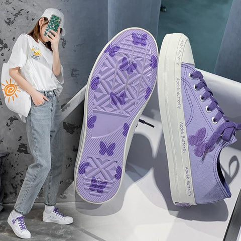 Embroidery Butterfly Low Lacing Canvas Sneakers K15383 - kawaiimoristore