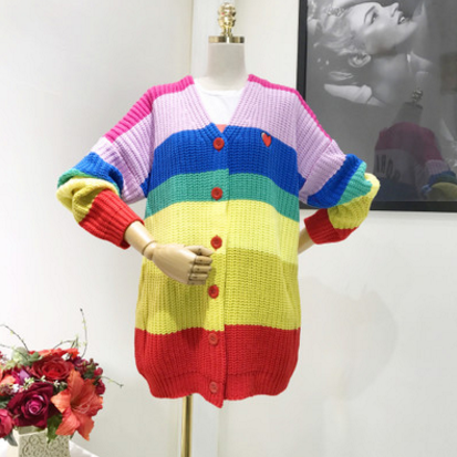 Candy Colorful Stripe Knitted Sweater KW1812011 - kawaiimoristore